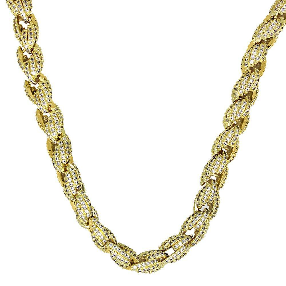 .925 Sterling Silver Bling Bling Rope Chain 8MM in Gold