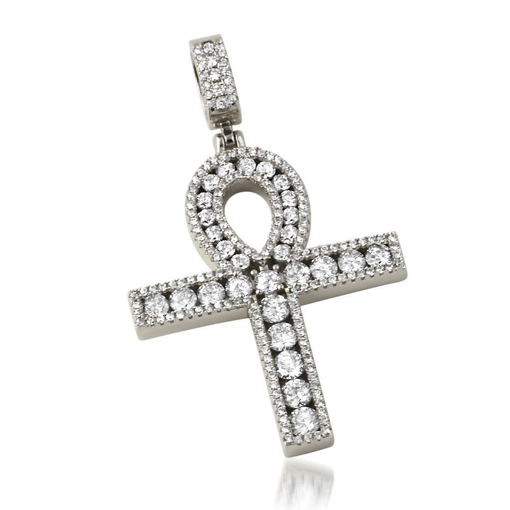 .925 Silver Channel Set Ankh Bling Bling Cross Rhodium