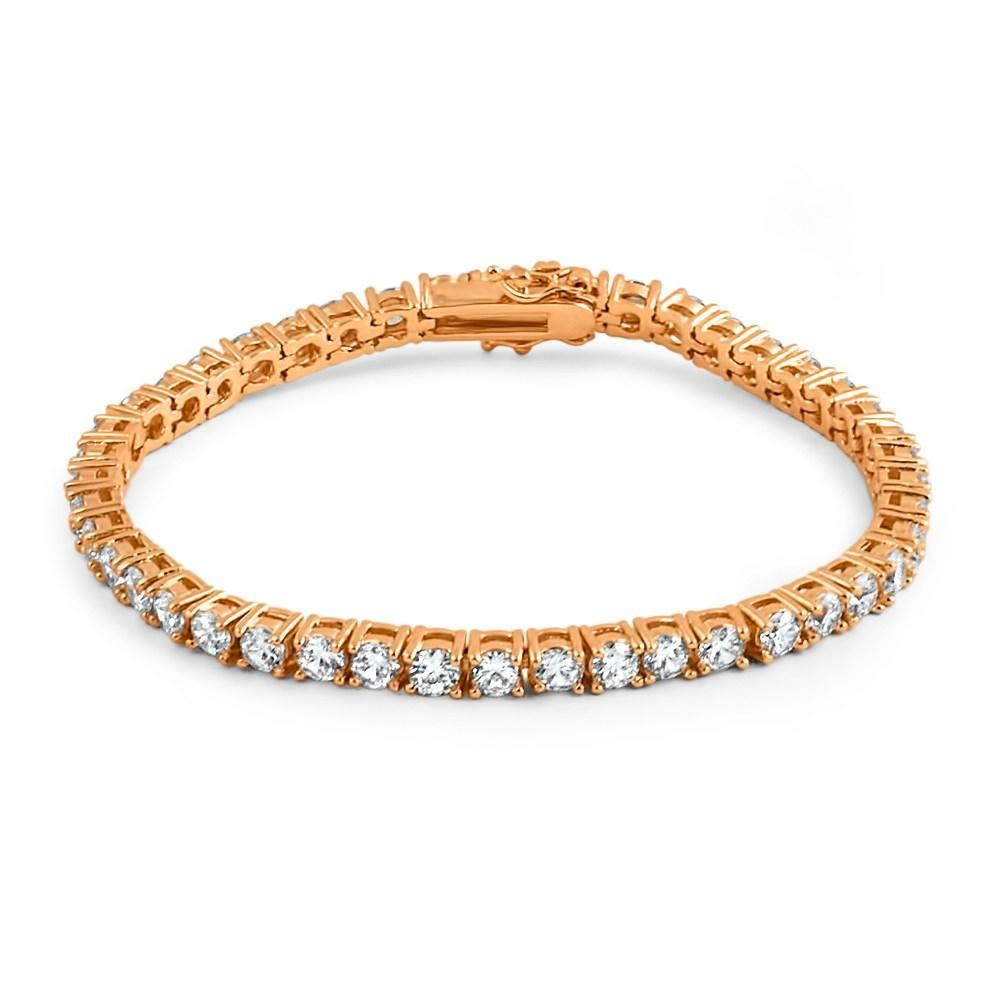 .925 Silver 4MM CZ 1 Row Bling Tennis Bracelet Rose Gold