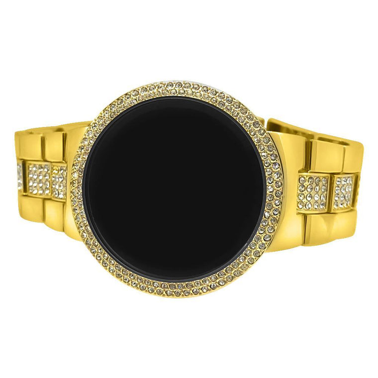 Bling Bling Gold LED Touch Screen Iced Metal Band Watch