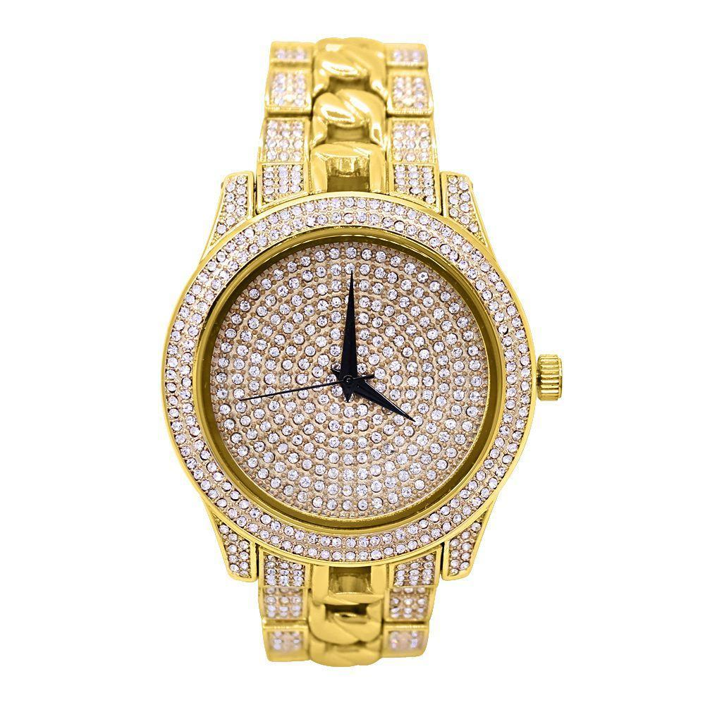 Cuban Link Band Bling Bling Hip Hop Watch