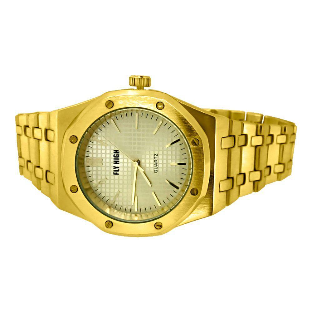 Gold Brushed Octagon Bezel Watch