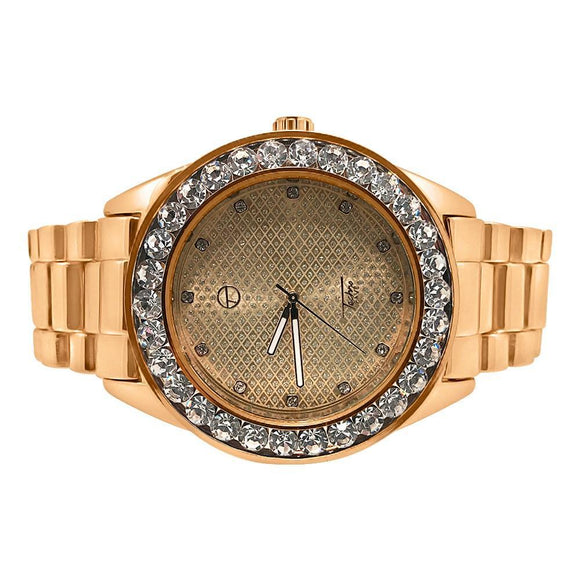 46MM Big Stones Bezel Bling Rose Gold Hip Hop Watch