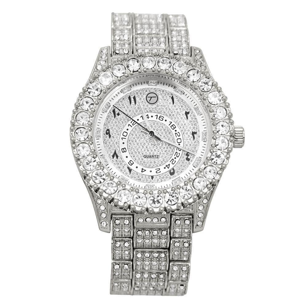 Sky Big Rocks Iced Out Bling Bling Hip Hop Watch