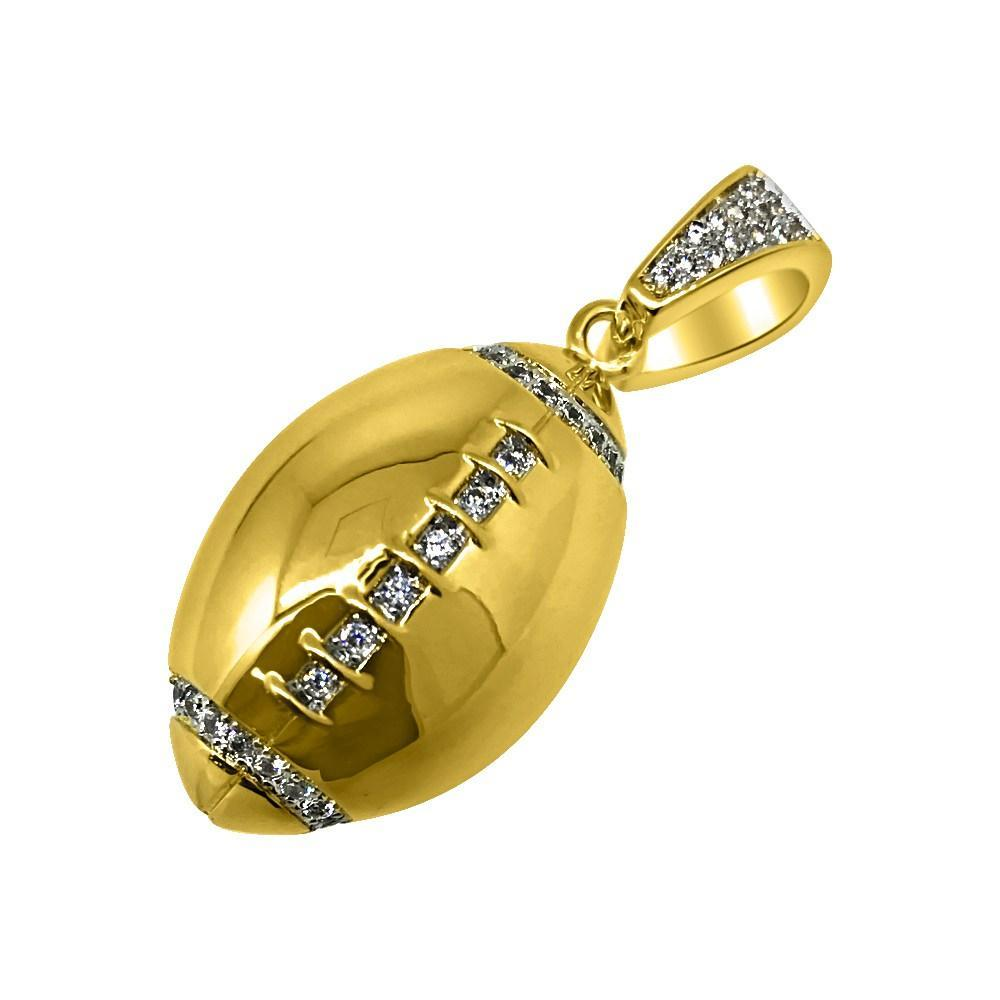 .925 Silver Gold Football CZ Rounded Polished Pendant