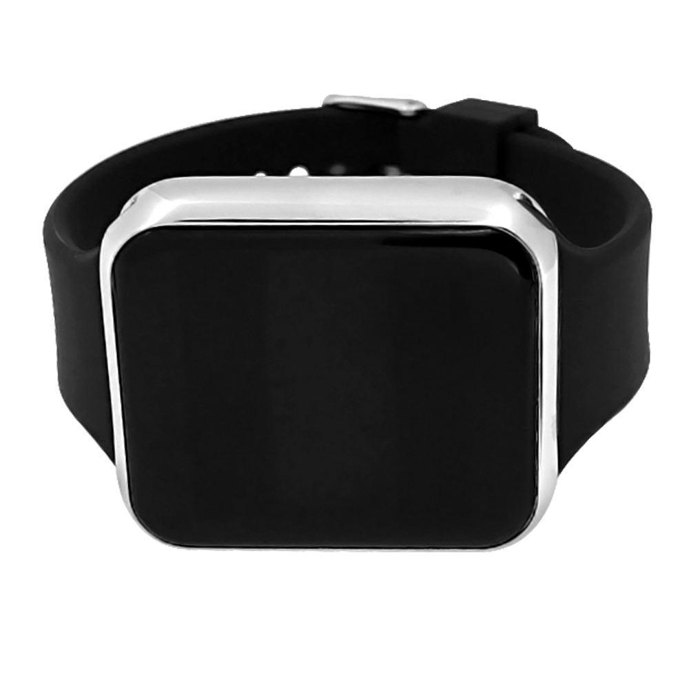 LED Touch Screen Silver Rectangle Watch Black Band