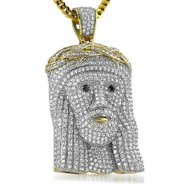 Full Bling Bling Jesus Pendant Gold Stainless Steel