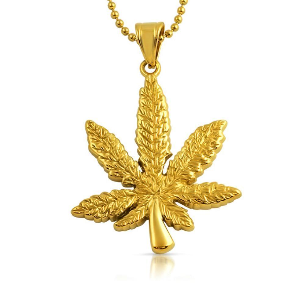 Marijuana Leaf Pendant 420 Gold Steel