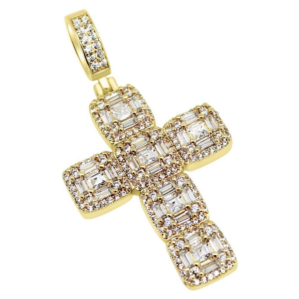 .925 Silver Asscher Cut Cluster CZ Gold Cross