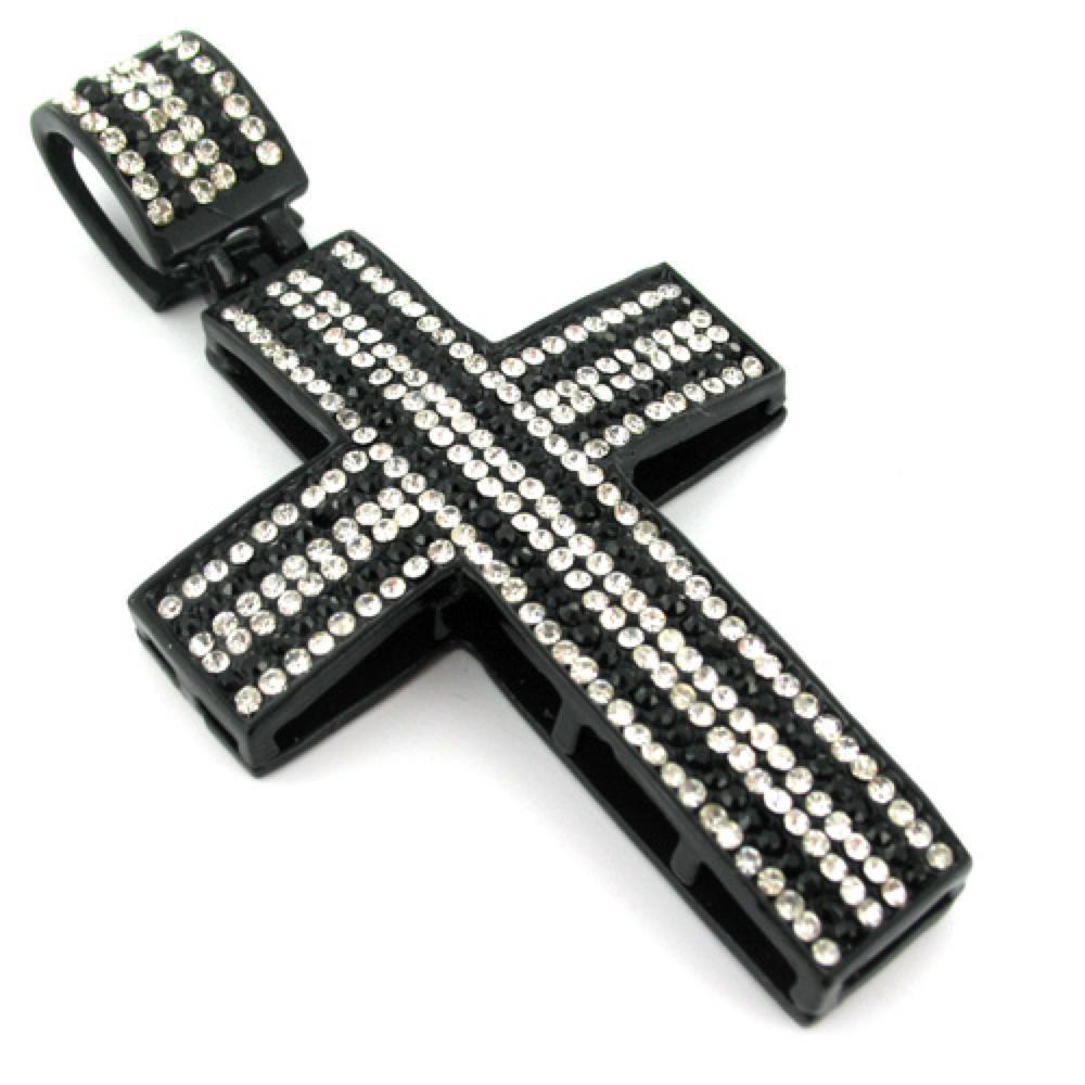 Black  White Striped Down Cross