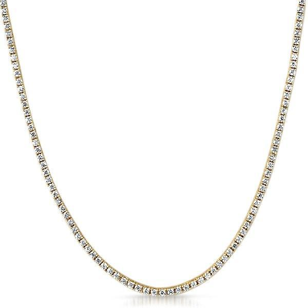 .925 Silver 2MM CZ Micro Tennis Chain Gold Bling