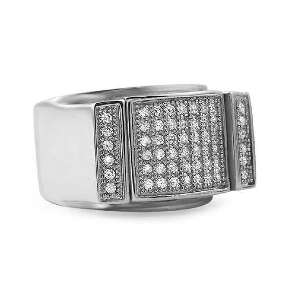 Bling Bling Ring CZ Micro Pave Iced Out Ring Steel