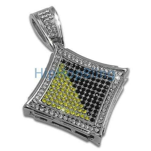 Kite Black and Yellow Exotic Rhodium Bling Bling Pendant