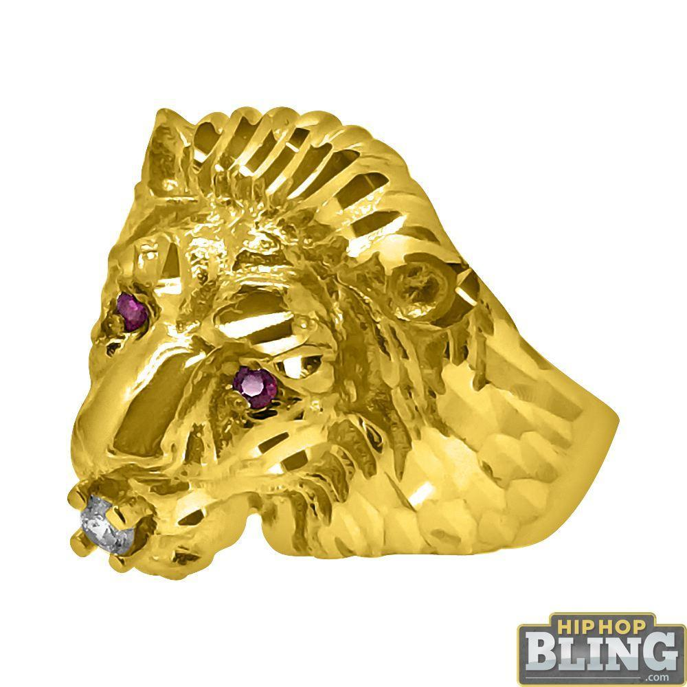 10K Yellow Gold Lion Head Ring with Red CZ Eyes