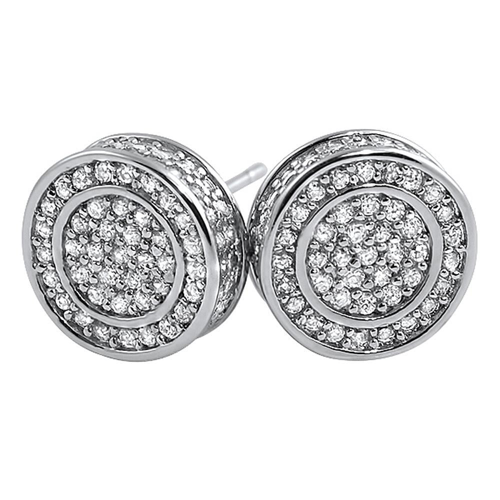3D Circle Large CZ Iced Out Bling Bling Earrings