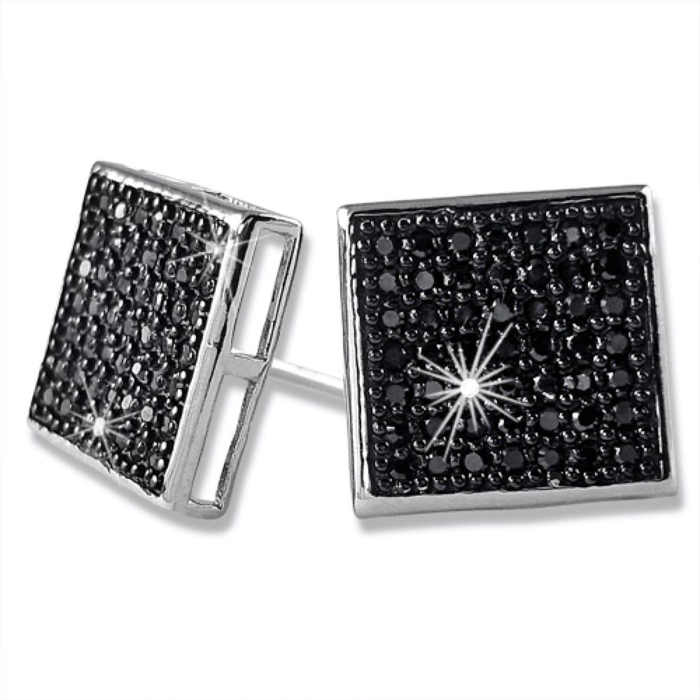 XL Box Black CZ Micro Pave Iced Out Earrings .925 Silver