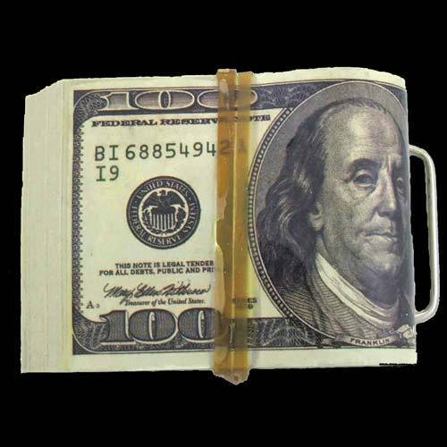$10,000 Wad of Cash $100 Bill Money Belt Buckle