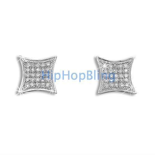 .15ct Diamond Kite Micro Pave Earrings .925 Silver