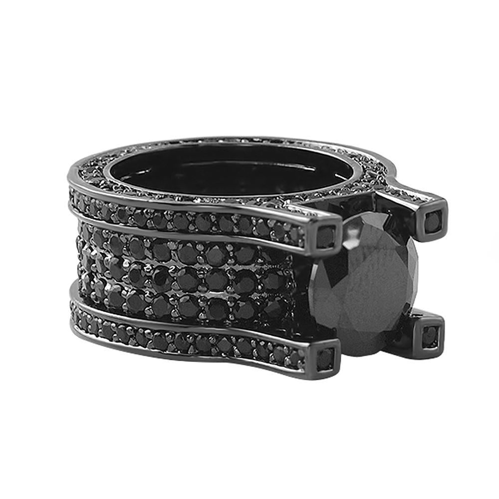 Baller Solitaire Eternity Black Bling Bling Ring