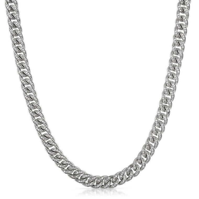 .925 Silver 8MM CZ Bling Bling Rhodium Cuban Links Chain