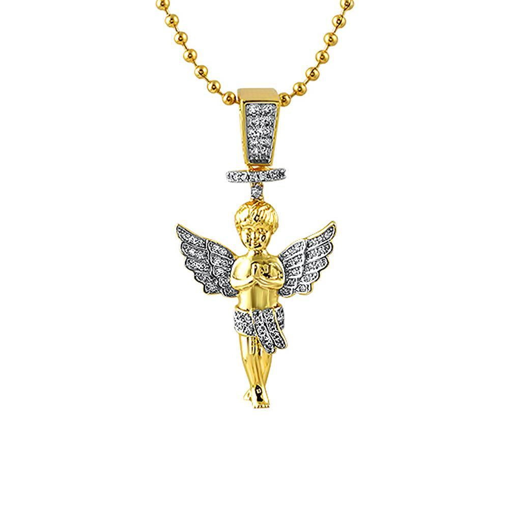 Gold Halo Angel Micro Hip Hop Pendant