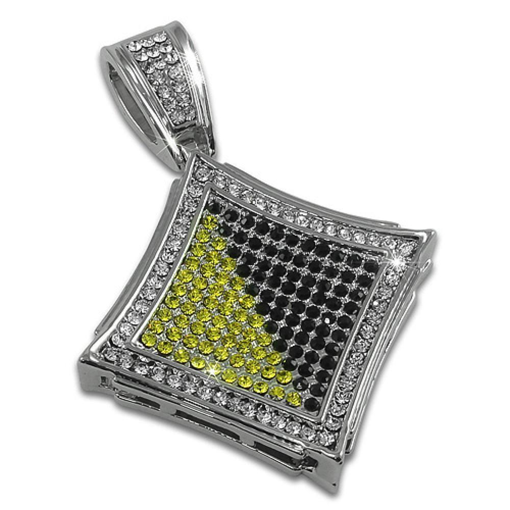 Kite Black Yellow Rhodium Pendant