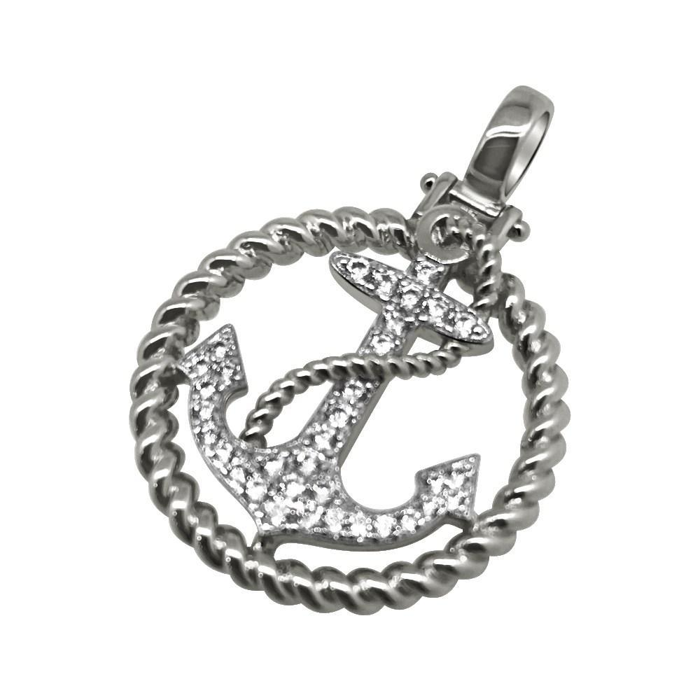 .925 Silver Rhodium Nautical Anchor CZ Bling Mni Pendant