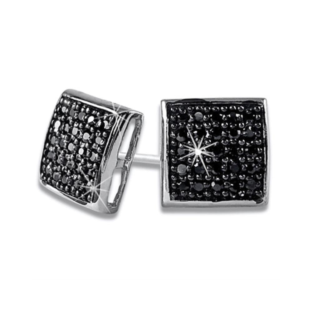 Puffed Box Medium Black CZ Micro Pave Earrings .925 Silver