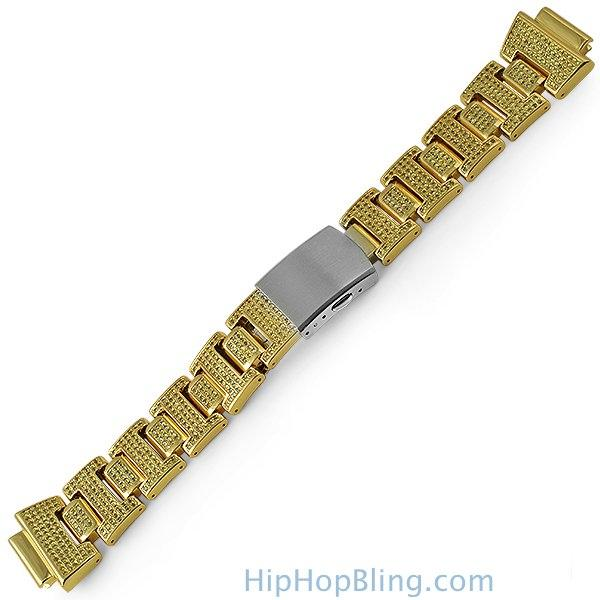 Custom Canary CZ Gold Band for G Shock Watch