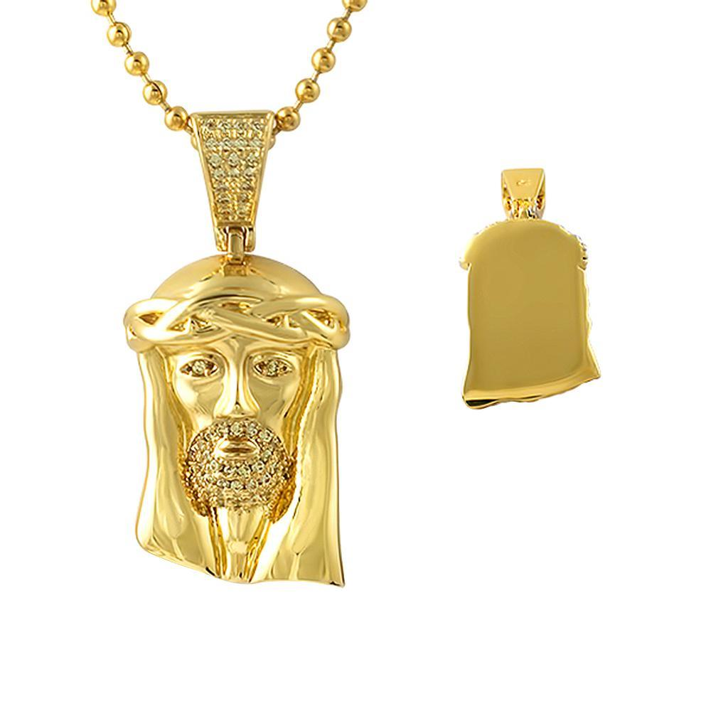 Canary Micro Jesus Gold Pendant Polished