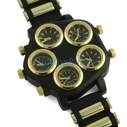 All Working 5 Timezone Watch Gold & Black
