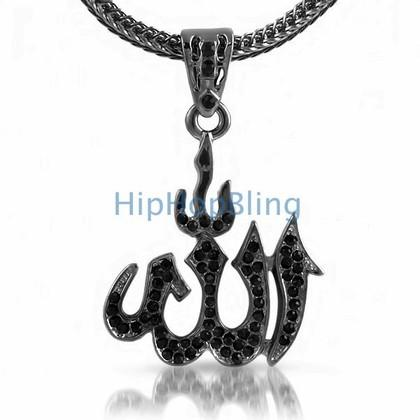Allah Black Bling Bling Pendant & Chain Small