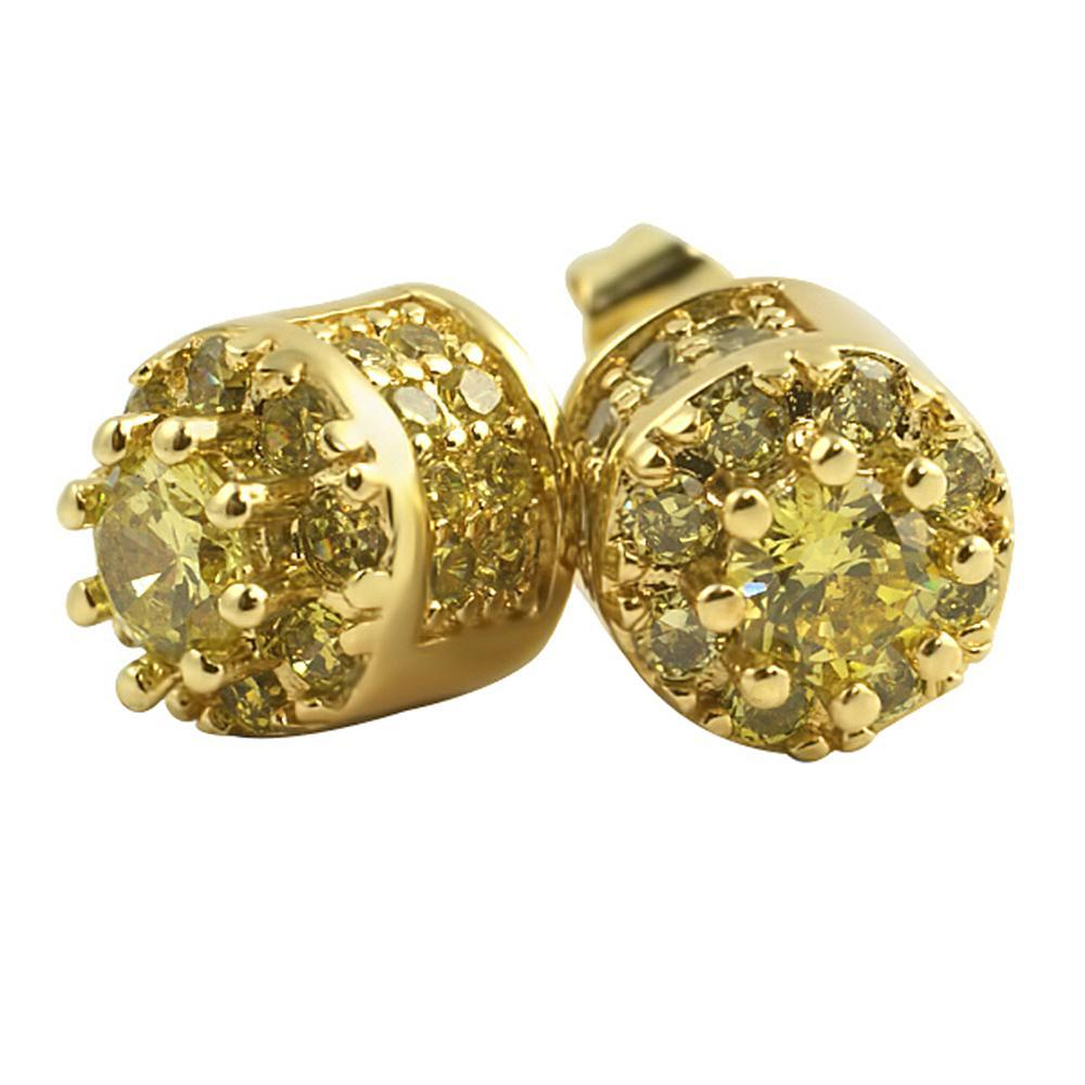 3D Cluster Lemonade CZ Bling Bling Earrings