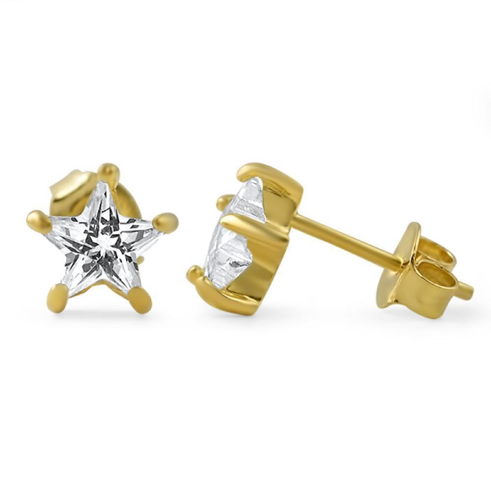 Star Cut CZ Stud Earrings Gold .925 Silver