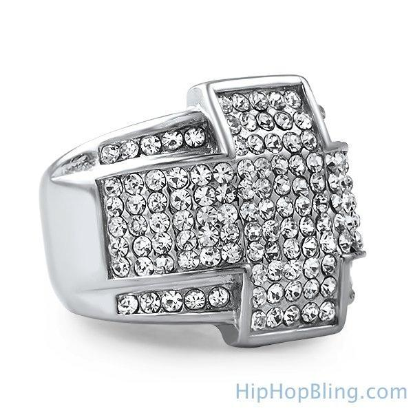 Stainless Steel Cross Bling Bling Ring