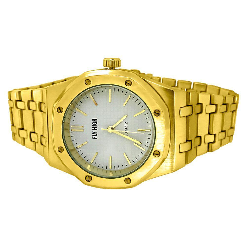 White Dial Gold Brushed Octagon Bezel Watch