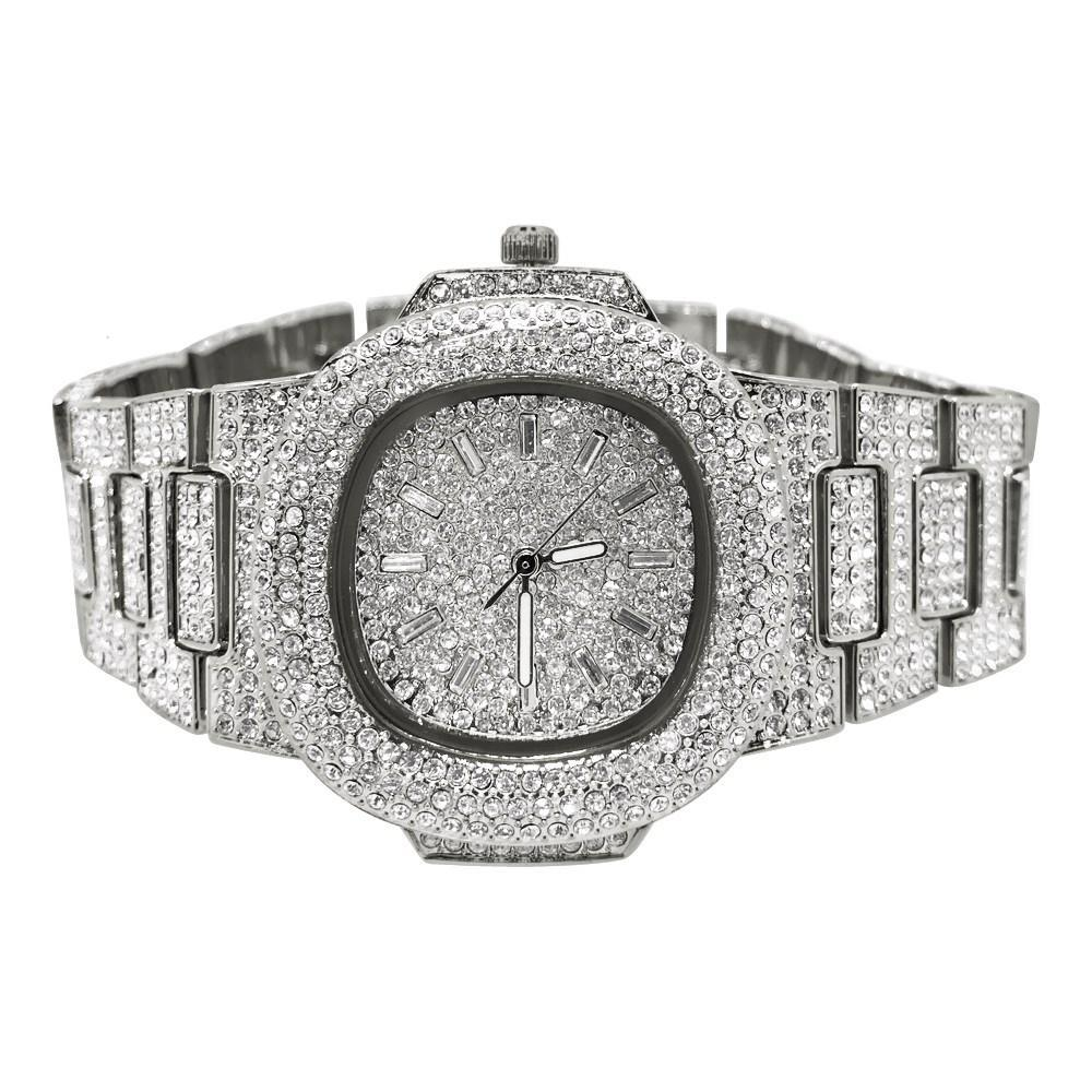 Custom Bling Bling Silver Ice Blizzard Watch