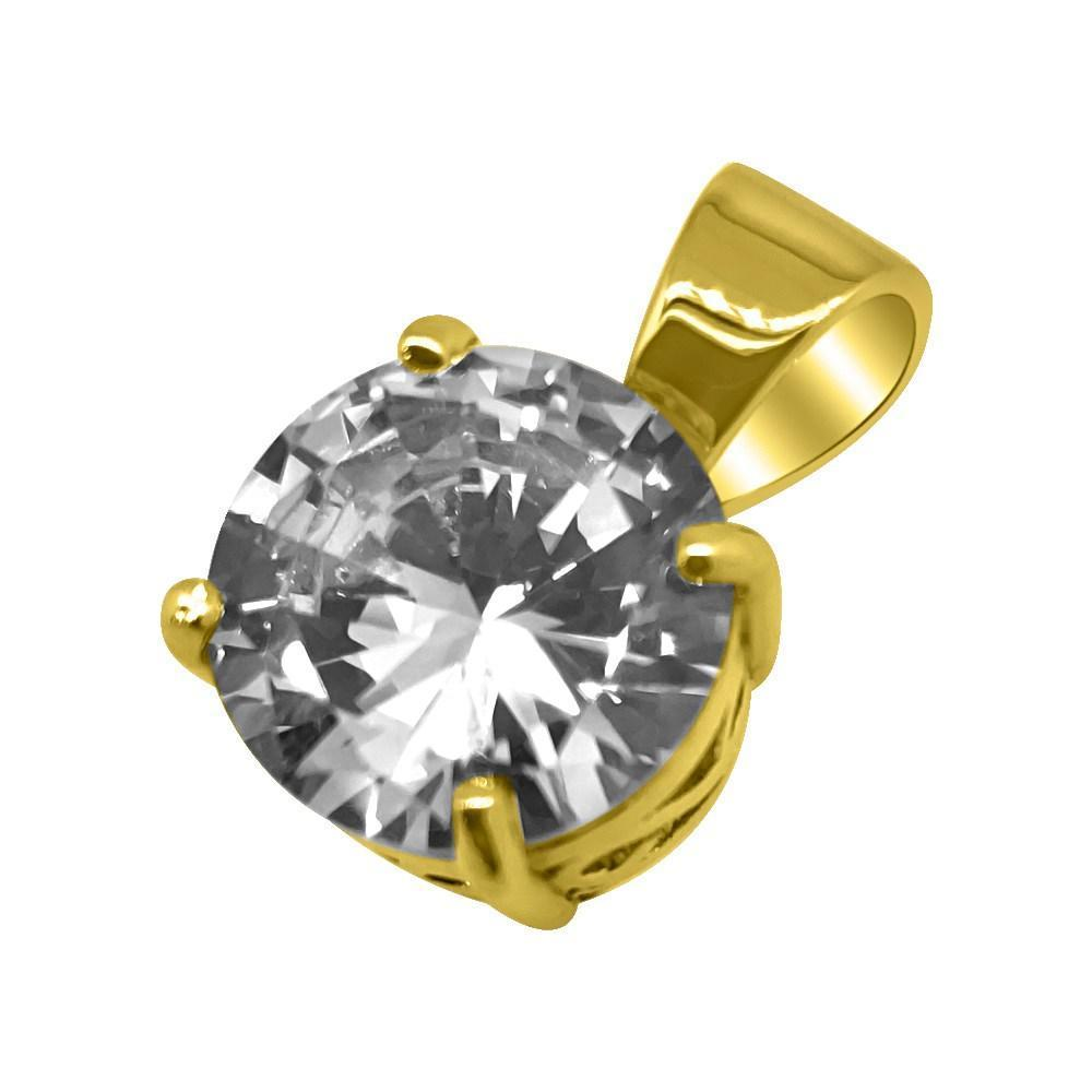 .925 Silver 25MM CZ Solitaire Gold Bling Bling Pendant