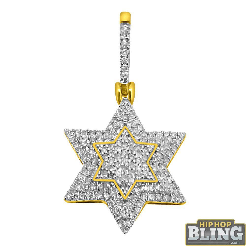 10K Yellow Gold .44cttw Diamond Nano Star of David Charm