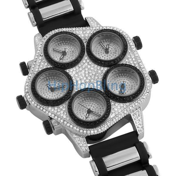 Bling Bling 5 Time Zone Watch Silver W/ Black Trim
