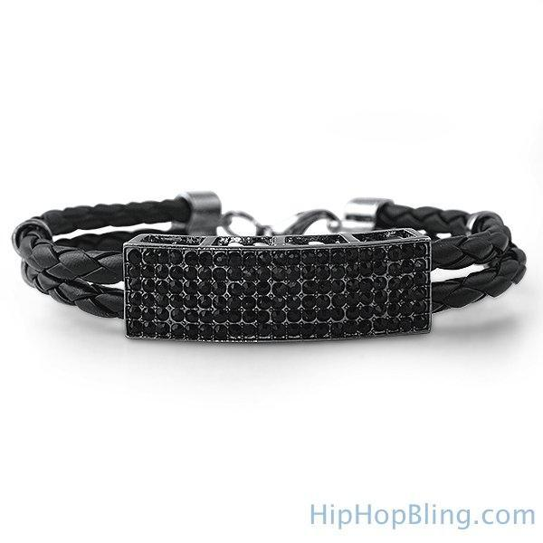 Dual Stand Leather Black ID Bracelet