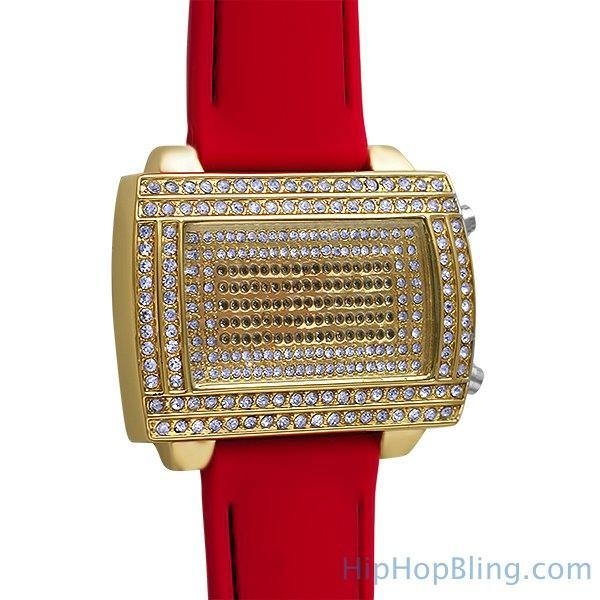 LED Digital Block Face Gold Watch Red Band