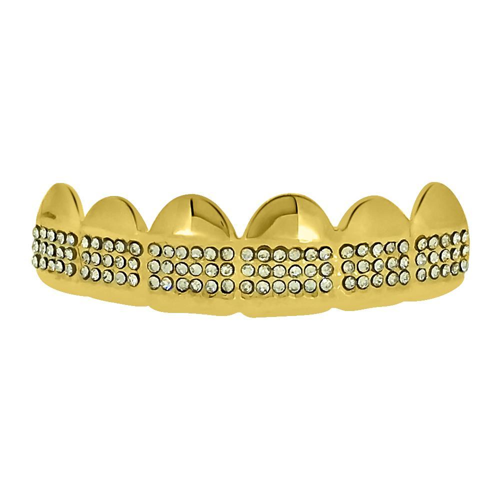 Bling Bling Grillz Gold Teeth Top Triple Row