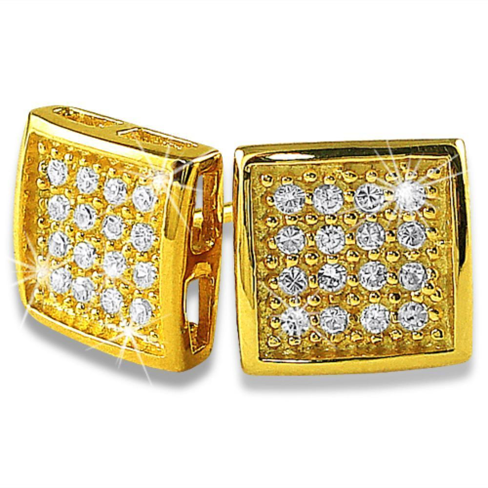 Deep Box Gold Vermeil CZ 32 Stones Bling Micro Pave Earrings .925 Silver