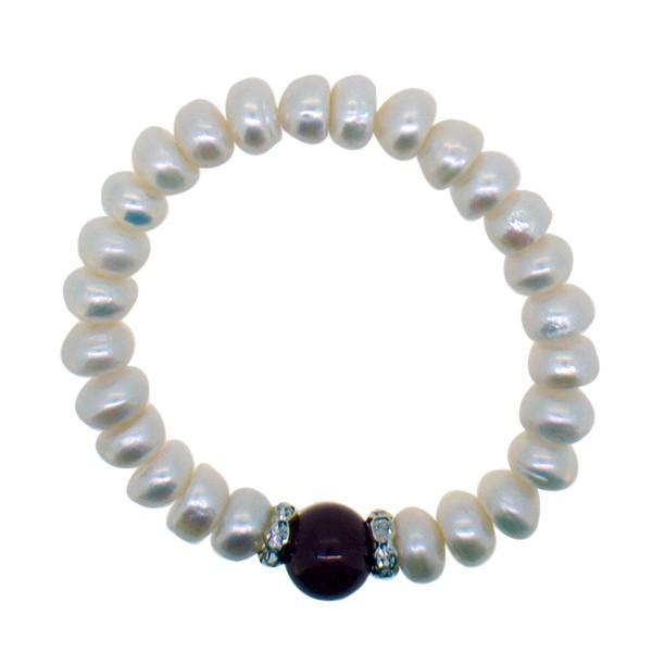 Freshwater Pearl Bracelet Red Natural Stone