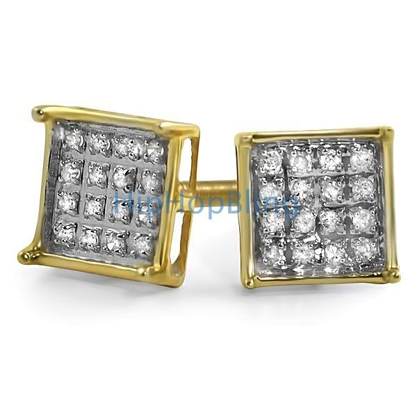 .10ct Diamond Box Micro Pave Earrings Gold Vermeil