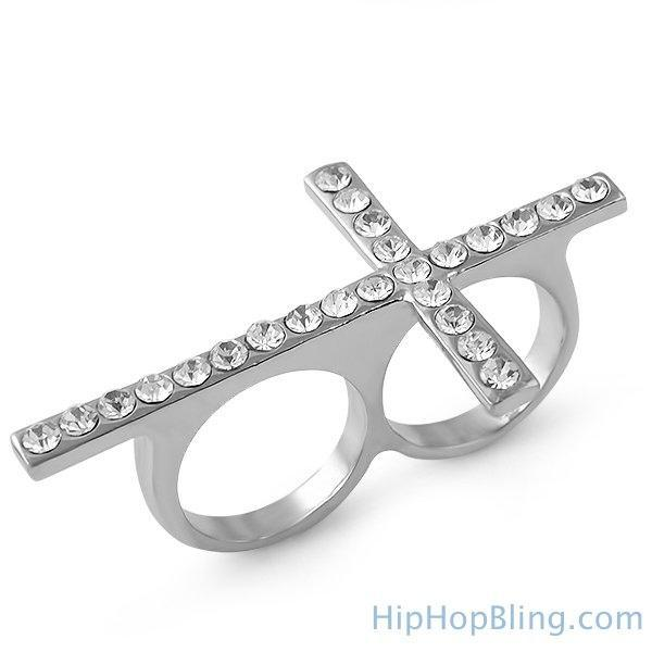 Rhodium Cross Bling Bling 2 Finger Ring