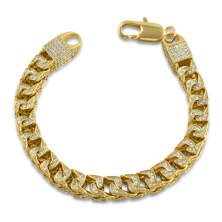 CZ Franco 8MM Gold Bling Bling Bracelet