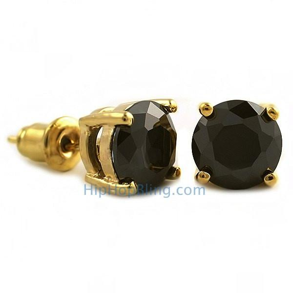 Black CZ Diamond Round Stud Earrings Gold