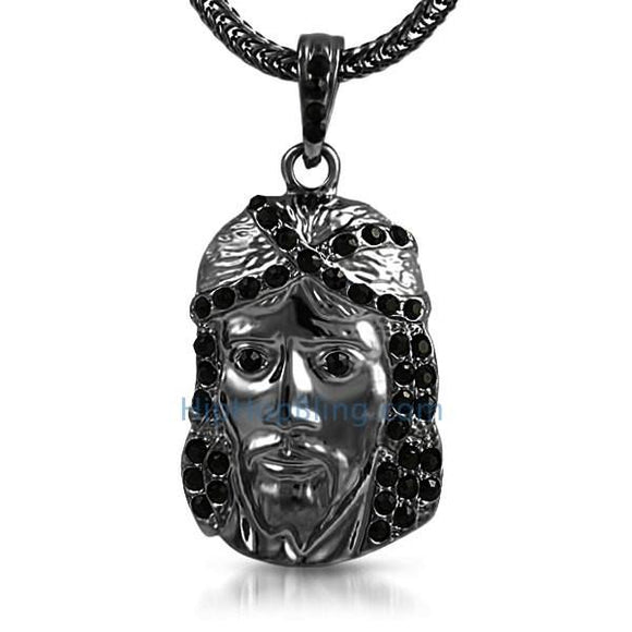 Black Jesus Piece Pendant & Chain Small